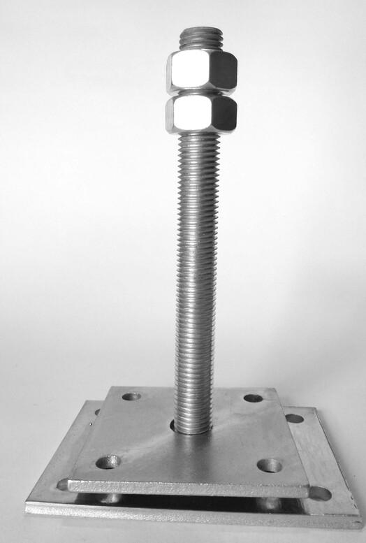 База колонны регулируемая (домкрат) 100x100/140x100/6/M20x200мм, PB100