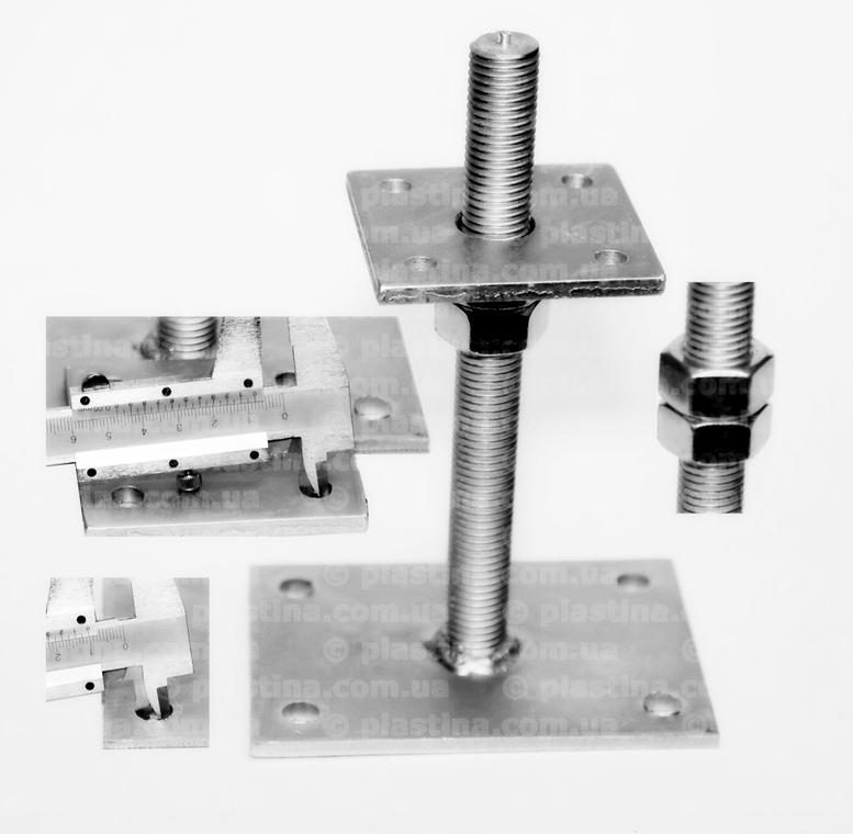 База колонны регулируемая (домкрат) 80x80/140x100/6/M20x200мм, PB80