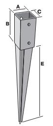 Забиваемый анкер-опора для столба 71х150х600х2,0мм, KOW71
